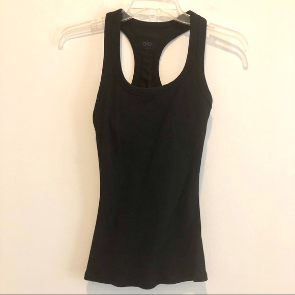 Alo ribbed black workout tank